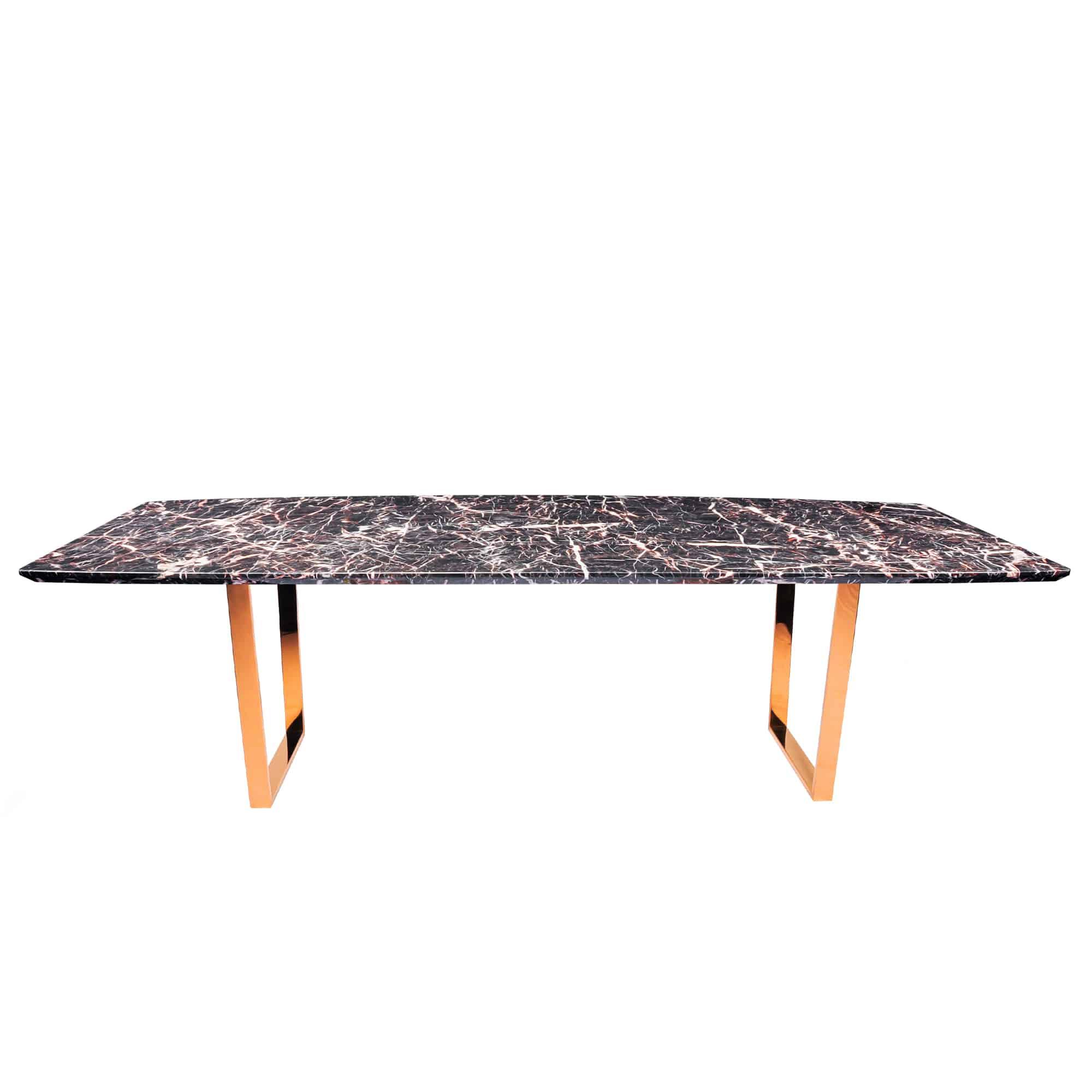 Decasa Rectangular Marble Dining Table Marrone