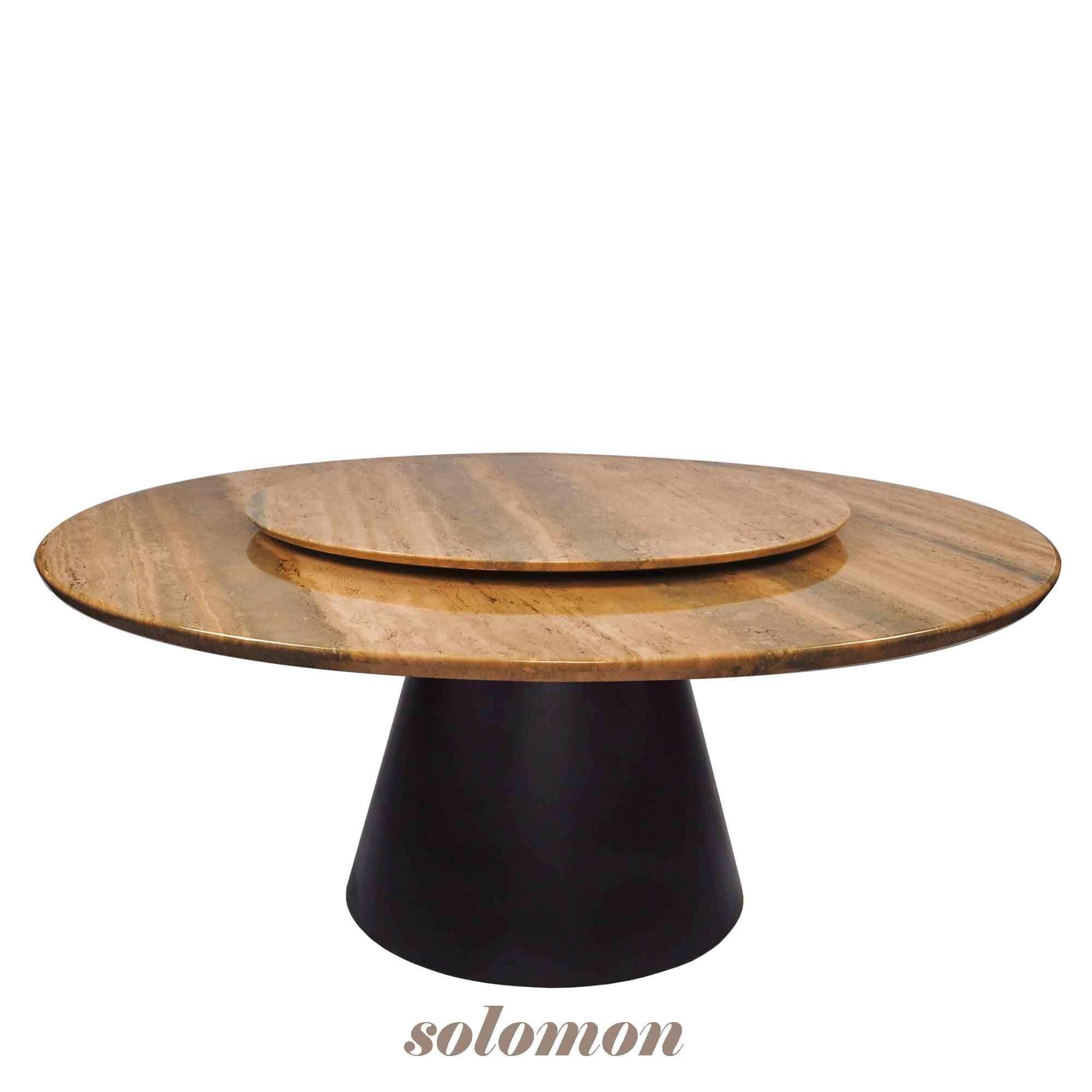 Decasa Round Marble Dining Table Roma Travertine
